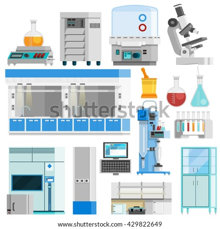 Science flat color isolated icons set of tools for natural sciences research and highly technological laboratory equipment flat vector illustration