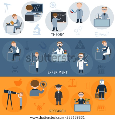 Science flat horizontal banners set with theory experiment research elements isolated vector illustration - stock vector