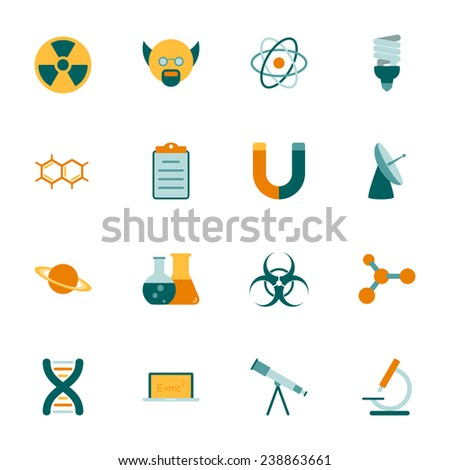 Science flat icons set vector graphic illustration - stock vector