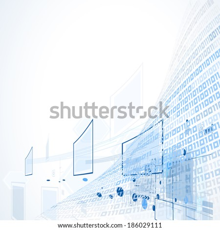 science futuristic retro high computer technology business background - stock vector