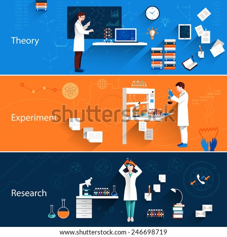 Science horizontal banners set with theory experiment research isolated vector illustration - stock vector