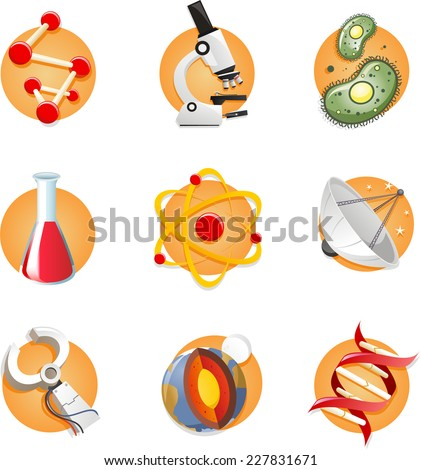 science icon collection, with cell microscope test tube DNA. Vector illustration cartoon.  - stock vector