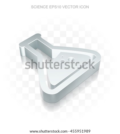 Science icon: Flat metallic 3d Flask, transparent shadow on light background, EPS 10 vector illustration. - stock vector