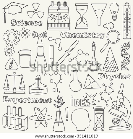Science icon set hand drawn. Doodle collection vector. Big set of sketch elements. Laboratory instruments: the physical equipment and chemical equipment - stock vector