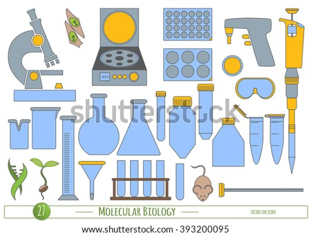 Science icon set in trendy flat style. Vector icons for Biology, Biotechnology & Chemistry laboratory protocols & catalogs, product labeling, identity, web site & scientific illustration elements.  - stock vector