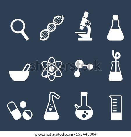 Science Icon Set Flat Icons Symbols Stock Photo Photo Vector