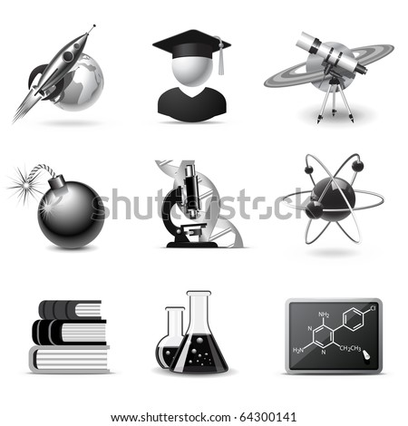 Science icons | B&W series - stock vector