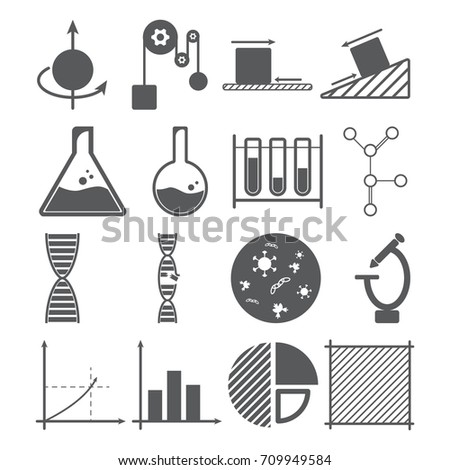 Science icons concept physics chemistry biology stock vector science icons concept physics chemistry biology mathematics mass object solution ccuart Gallery