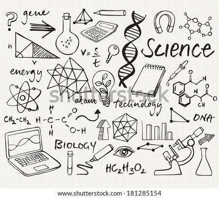 Science Icons Doodle Vector Set Stock 181285154