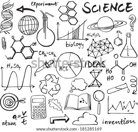 Science icons doodle vector set