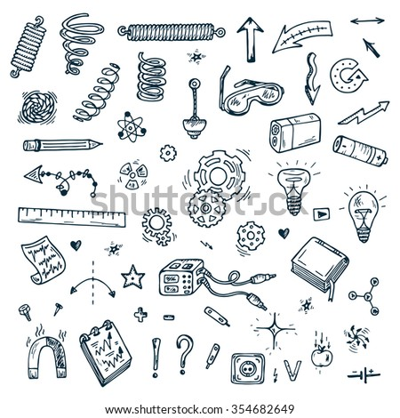 Science icons. Hand drawn doodles Physics Set. - stock vector