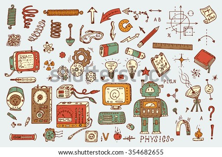 Science icons. Hand drawn doodles Physics Set. Robot, Measuring equipment,  instrumentation and elements - stock vector