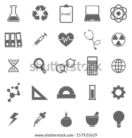 Science icons on white background, stock vector - stock vector