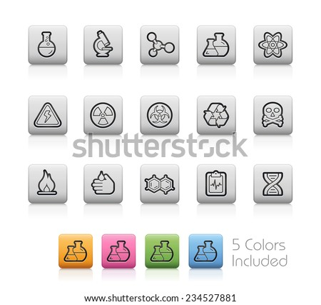 Science Icons // Outline Buttons -- Each color in a layer. To see the desired color, you need to make it visible in the layer panel - EPS 10+ Contain Transparencies - stock vector