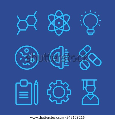 Science icons set simple line style blue - stock vector