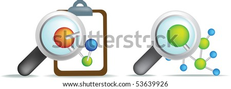 science illustration of magnifying glass examining cells - stock vector
