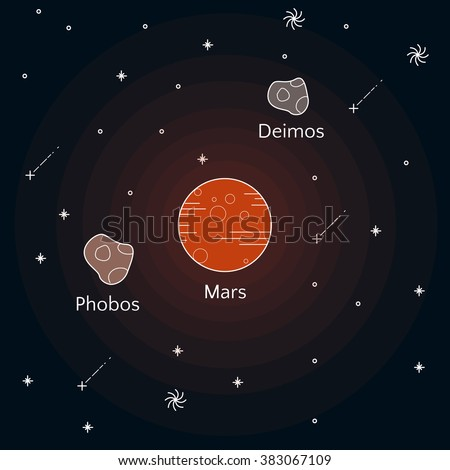 Science illustration with stars and planets. Use for prints, web, posters, invitations. Vector satellites of Mars. Phobos and Deimos. - stock vector