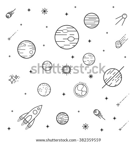 Science illustration with stars and planets. Use for prints, web, posters, invitations. Vector set of flat planets. Solar system. - stock vector