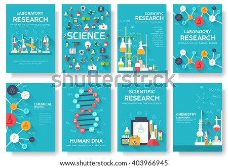 Science Information Cards Set. Laboratory Template Of Flyear, Magazines,  Posters, Book Cover
