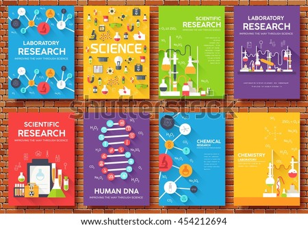 Science Information Cards Set Laboratory Template Stock Vector