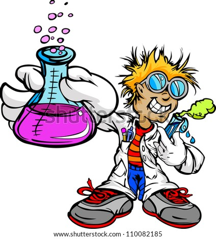 Science Inventor Boy Cartoon Student with Lab Coat and Scientific Experiment Equipment Vector Illustration - stock vector