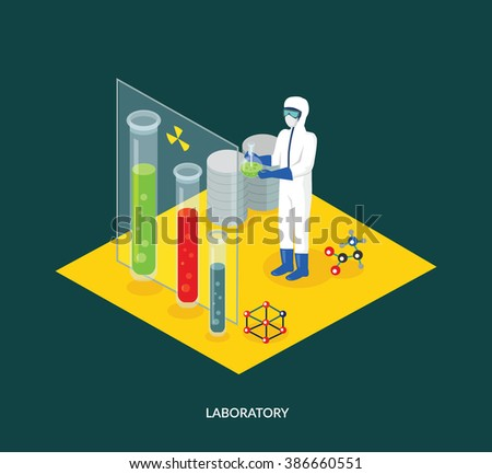 Science lab isomatric design flat. 3D Science and scientist, science laboratory, lab chemistry, research scientific, microscope and experiment, chemical lab science test, technology illustration - stock vector