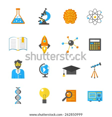 Science laboratory and research equipment icon flat set isolated vector illustration - stock vector