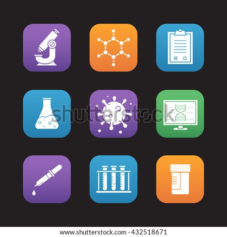 Science laboratory equipment flat design icons set. Microscope, molecule and atom structure, medical tests checklist and jar, pipette with drop, test tubes rack. Web application interface. Vector - stock vector