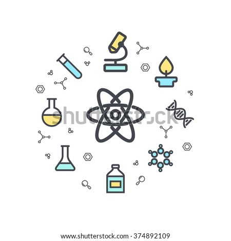 Science line flat icons. Chemical icons. Circle background. Minimal icons of molecule, tube, flask, benzene and other chemical elements. Vector illustration. - stock vector