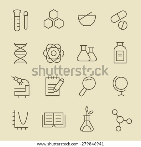 Science line icon set - stock vector