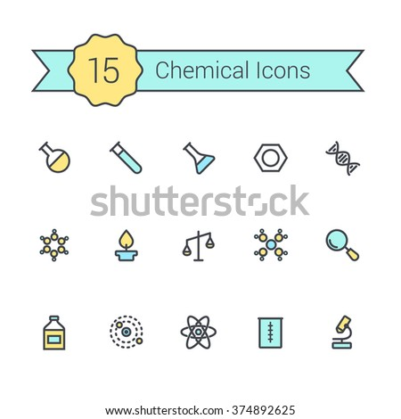 Science line icon set. Chemical icons of molecule, tube, flask, benzene, magnifying glass, microscope and other chemical elements. - stock vector