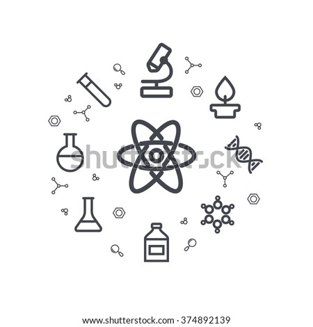 Science line icons. Chemical icons. Circle background. Minimal icons of molecule, tube, flask, benzene and other chemical elements. Vector illustration. - stock vector
