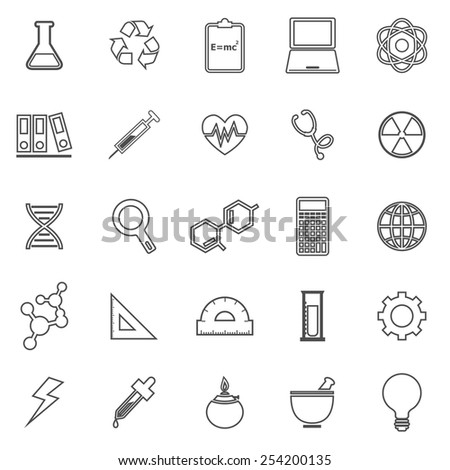 Science line icons on white background, stock vector - stock vector
