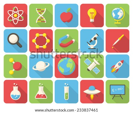 Science, modern flat icons with long shadow - stock vector