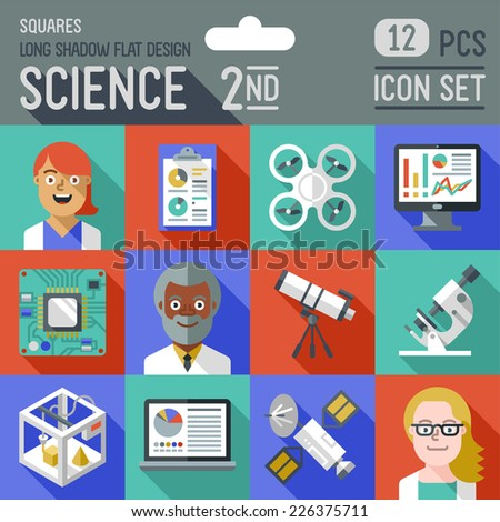 Science 2nd squares icon set. Flat design long shadow. Vector illustration. - stock vector