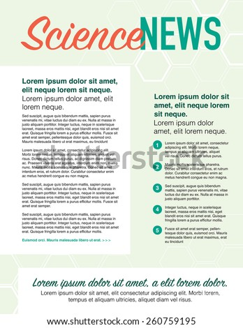 Science news, page layout newsletter for use with business or nonprofit