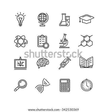 Science Outline Black Icons Set. Vector illustration - stock vector