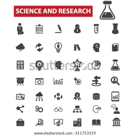 science, research, education black isolated concept icons, illustrations set. Flat design vector for web, infographics, apps, mobile phone servces - stock vector