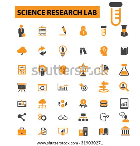science research icons - stock vector