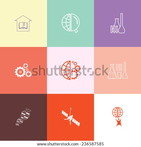 Science set. Flat color vector icons.