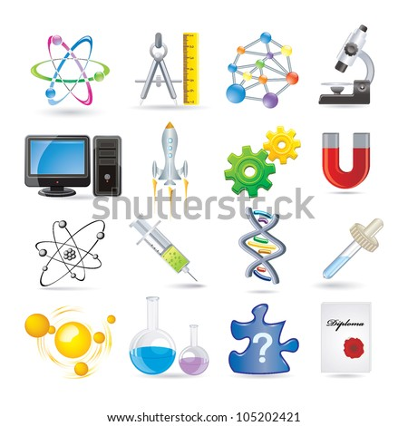 science set of icons - stock vector