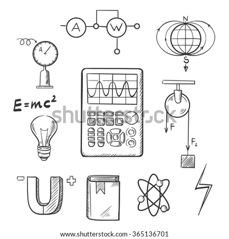 Science sketch icons set with symbols of physics such as magnet, electric power, atom model, Earth magnetic field, book, formulas, schemes and tools. For education or scientific concept design - stock vector