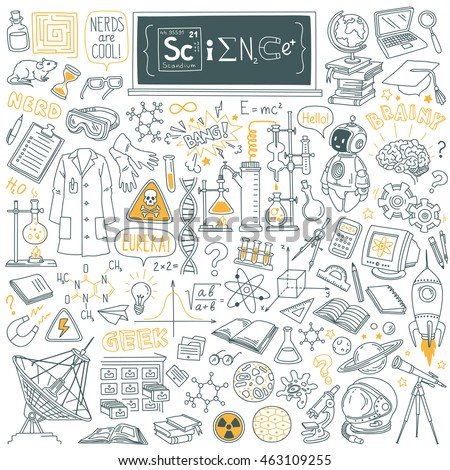 Science stuff doodle set. Biology, mathematics, astronomy, robotic technology, geometry, physics, chemistry laboratory equipments and tools. Freehand vector drawing Isolated on white background.