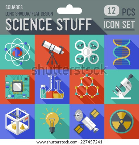 Science stuff squares icon set. Flat design long shadow. Vector illustration. - stock vector