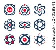 Science symbols, atom and molecule icons, chemistry - logo design elements, labels, badges, logotype templates