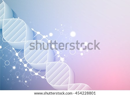 Science template, wallpaper or banner with a  3D DNA molecules. Vector illustration. - stock vector