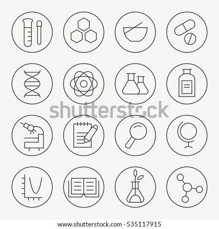 Science thin line icon set