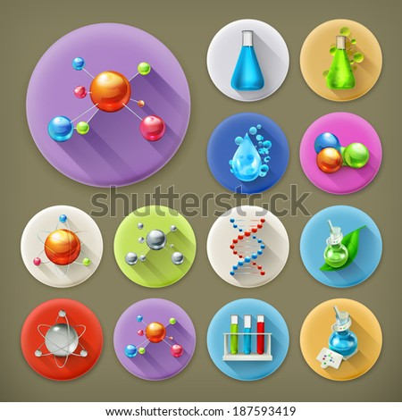 Science, tubes and molecules long shadow icon set - stock vector