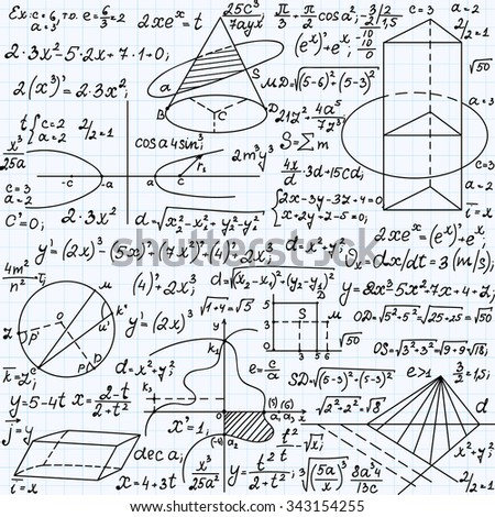 "Science vector seamless pattern with formulas, plots, equations, figures, mathematical calculations, ""handwritten on a copybook paper"""