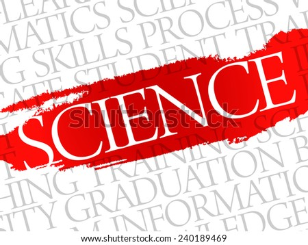 SCIENCE. Word education collage on gray vector background - stock vector